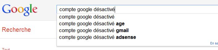 astuce google desactive